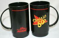 2 Vintage Dr Pepper Sonic Crusin 50s Plastic Mugs Cups Black Plastic Ships Free