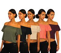 Womens Ladies Off The Shoulder Flared Sleeve Bardot Gypsy Crop Top