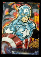 2014 UD CAPTAIN AMERICA 2 1/1 HAND DRAWN SKETCH * CAPTAIN AMERICA * BY K. SHARPE