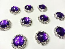 MT72P- 10pc 22mm PURPLE Crystal Diamante Rhinestone Wedding Topper Buckle Button