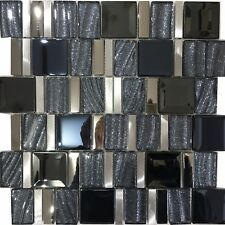 Black & Silver Glass & Metal Mosaic New York Tile Sheets Bathroom Kitchen Wall