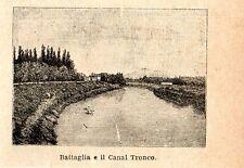 Stampa antica BATTAGLIA piccola veduta Canal Tronco Padova Veneto 1896 Old Print