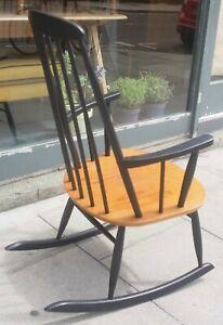A vintage 1960s Danish black rocking chair for Farstrup Mobler