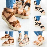 Womens Espadrilles Leopard Ankle Bucket Strap Sandals Platform Snake Beach Shoes