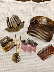 6 Vintage Adorned Hair Combs -Gold Inlay, Rhinestones, Pearls, Sequins. 2 France