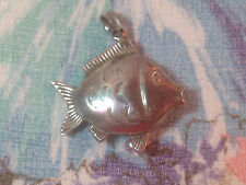 Fish Pendant Very Cute Reversible Vintage Sterling Silver 3D Puffy