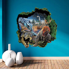 Jurassic Park T-Rex Dinosaur World Wall Crack Stickers Art Decal Kids Mural Home