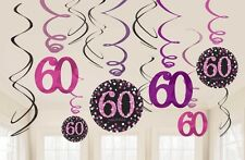 12 X 60TH BIRTHDAY PARTY HANGING SWIRLS PINK BLACK CELEBRATION DECORATION AGE 60
