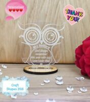 Personalised Teacher Thank you Gifts School Nursery Pre School Leaving Gift OWL