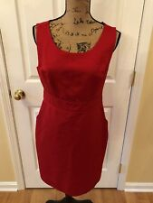 THE LIMITED Red Sheath Dress Fitted Waist Career Party Kate Audrey Pockets SZ 10