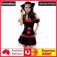 Sexy Queen Of hearts Costume Alice Wonderland Deluxe Fancy Dress 8-12 #8467