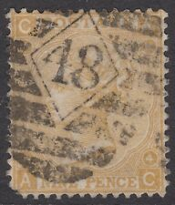 GB QV 9d Straw SG98 Plate 4 Nine Pence Used 1865 Stamp Emblems - Rare but Faults