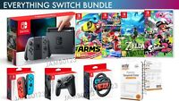 Nintendo Switch Console Grey + 4 TOP Games + Wheel + 2 Extra Controllers BUNDLE