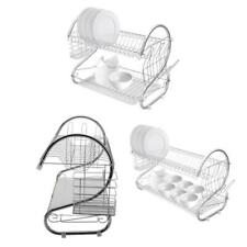 Durable Stainless 2 Tier Dish Drainer Drying Rack Kitchen Storage Steel Rack NEW