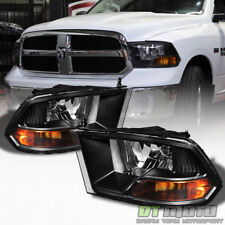 2009-2017 Dodge Ram Black Headlights Lamps Replacement Left+Right 09-17 Lights