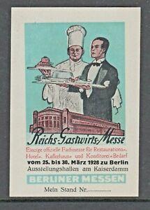 1928 - REICHS GASTWIRTS MESSE - BERLIN -(20)- CHEF- CINDERELLAS