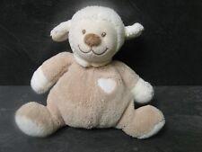 peluche doudou mouton grelot beige blanc marron cœur 17 cm nattou