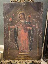 Vintage Mexican Retablo 19th C. Our Lady of Atocha on Tin