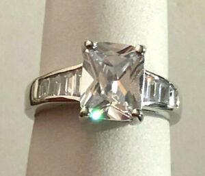 CZ Engagement Ring Radiant Baguette 2+ Ct Rhodium Plt Camille Lucie Sz 8 1413