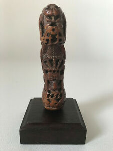 INDONESIAN ANTIQUE KRIS MADURA HILT CARVED IN AN ANIMAL TOOTH. EARLY 19 th c