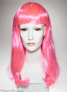 "Wig Hot Pink ""Mistress"" Long 20"" Synthetic Hair Costume Wig With Bangs"