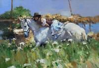 CHOP1009 portrait Girl on horseback&animal horse oil painting art on canvas