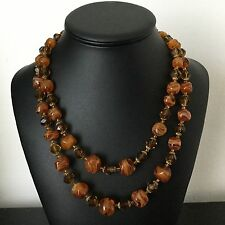 Collier Vintage Perles de Verre Agate Beau Fermoir 1960 French Vintage Necklace