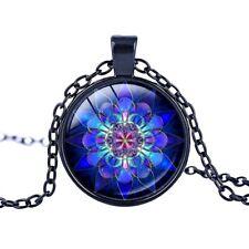 Necklace Lotus Pendant Mandala Glass Buddhism Black Chain Blue Flower