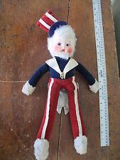 Antique Uncle Sam Doll WW1 or WW2 Era Felt & Velvet Cloth Body Painted Face