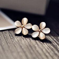Women Crystal Rhinestone Cherry Flower Ear Stud Earrings Elegant Jewelry Gifts