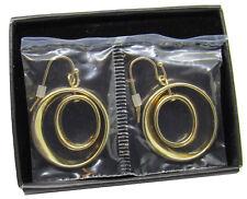 Avon Signature Collection Orbit Earrings Goldtone Double Hoop Drop