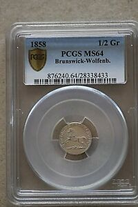 1858 Germany Brunswick Wolfenbach, 1/2 Groschen, PCGS MS64