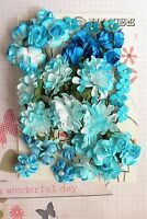 ROSES & CARNATIONS 38 Flowers TURQUOISE WHITE 3 Tones PAPER SATIN10-35mm H2-3