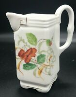 Porcelain Ceramic Marked Square Pitcher Creamer 85  Floral with Gold Trim Handle