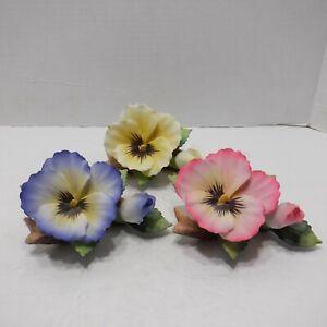 Andrea by Sadek Flower Trio of Pansies Pink- Yellow - Blue