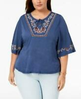Style Co Plus Women's sz 1X Blue Scoop Neck Flutter Sleeve Lace-Up Blouse Top