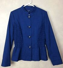 Chadwick Teal Blue Jacket Brass Buttons Size 10 Smocked sides Mandrin Collar