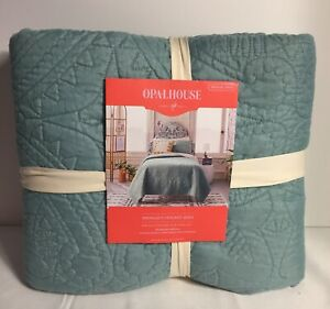 "OPALHOUSE  Medallion Stitch Quilt Twin/XL Twin Jade  68"" x 92"" NEW"