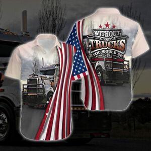 Truck Driver America Flag #2 Short Sleeve Hawaiian Shirt All Size