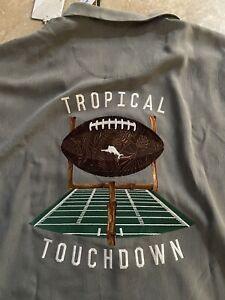 "NWT $165 Tommy Bahama XL Football Tropical Touchdown Gray Silk Shirt ""Shadow"""