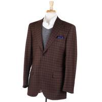 NWT $995 LUIGI BIANCHI Brown Check Super 120s Wool Sport Coat 42 R