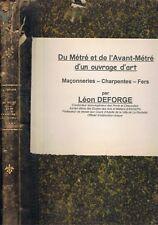 Du Métré et de l'Avant Métré Ouvrage d'Art de Léon DEFORGE Dessins Plans 1910-15