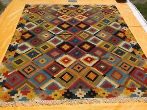 SOUTHWESTERN Wool Navajo Kilim Rug Handmade Red and Beige CAUCASIAN STYLE 8x10