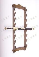 8 Layer Wood Long Wall Mount Bracket Katana Samurai Sword Hanger Stand Holder