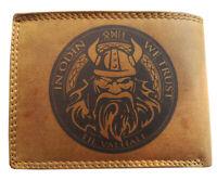 """Geldbörse Portemonnaie """" Odin mit Runen bis Wallhalla """" aus echtem Leder"""