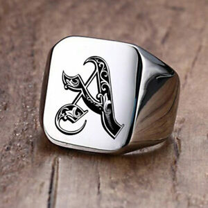 Royal Initial Signet Ring Men Stamp Band Stainless Steel Letter Customized Laser