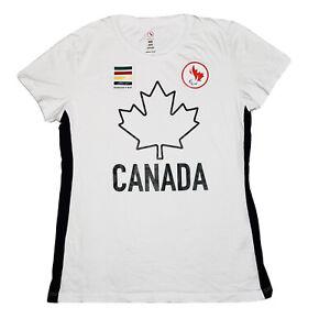 HUDSONS BAY Team Canada Olympic Big Maple Leaf T Shirt Womens Medium White RARE