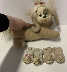 Vintage Hasbro Brown Puppy Surprise with 4 Puppies, + 5 Puppies & Sleeping Bag