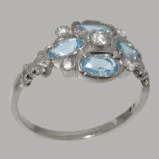 9k White Gold Cubic Zirconia Blue Topaz Womens Cluster Ring - Sizes J to Z