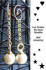 Boucles d'Oreille Pendantes, Dorées Perle (Idéales Mariage)  / 2014003